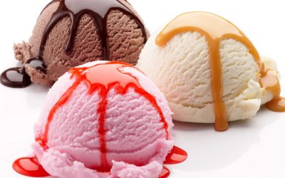 Chocolate-Vanilla-and-Strawberry-Ice-Cream-with-White-Background